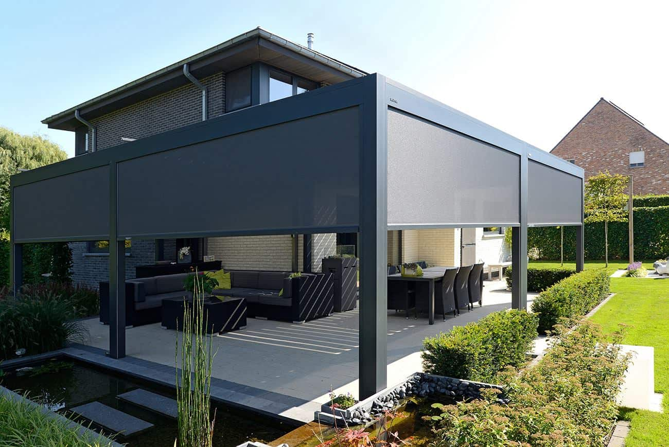 Pergolas by Julie - Louvered Pergola with Shades Lowered Halfway