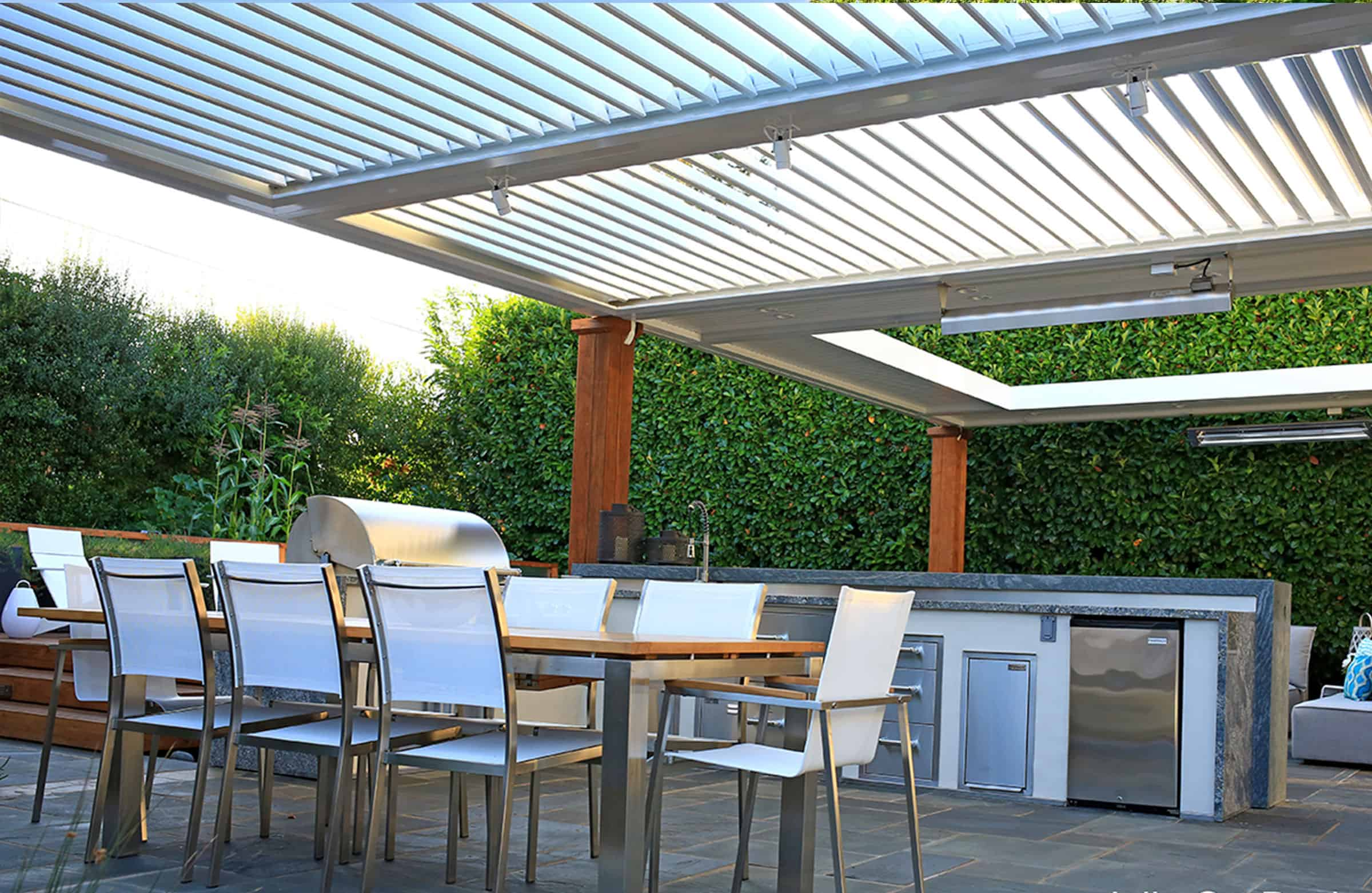 Pergolas by Julie - Louvered Pergola with Outdoor Kitchen
