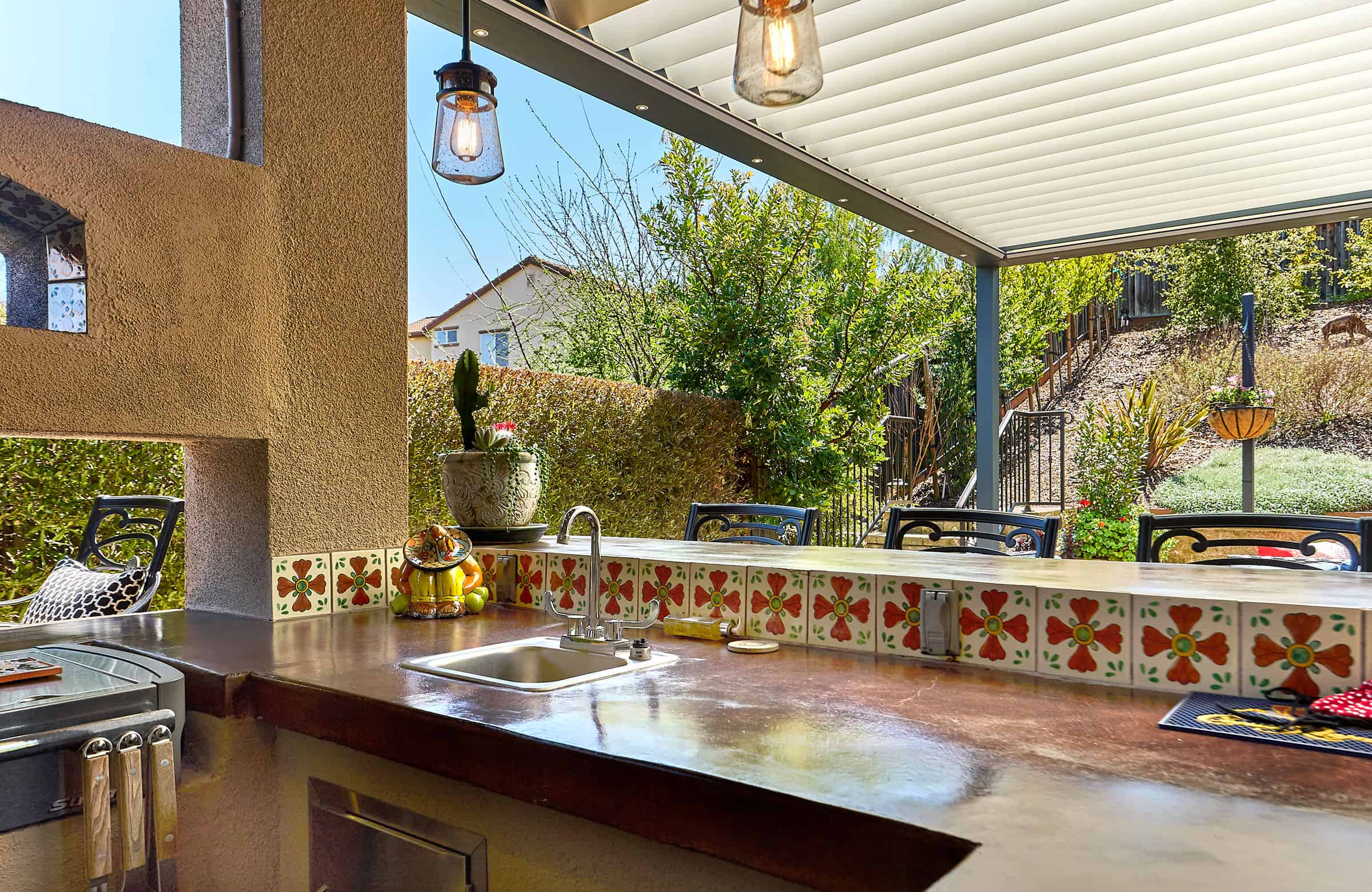 Pergolas by Julie - Outdoor Kitchen and BBQ Under Pergola Louvered Shade